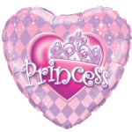 "18"" Heart Princess Tiara Foil Balloon"